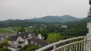 ホテルのバルコニーから三草山を望む